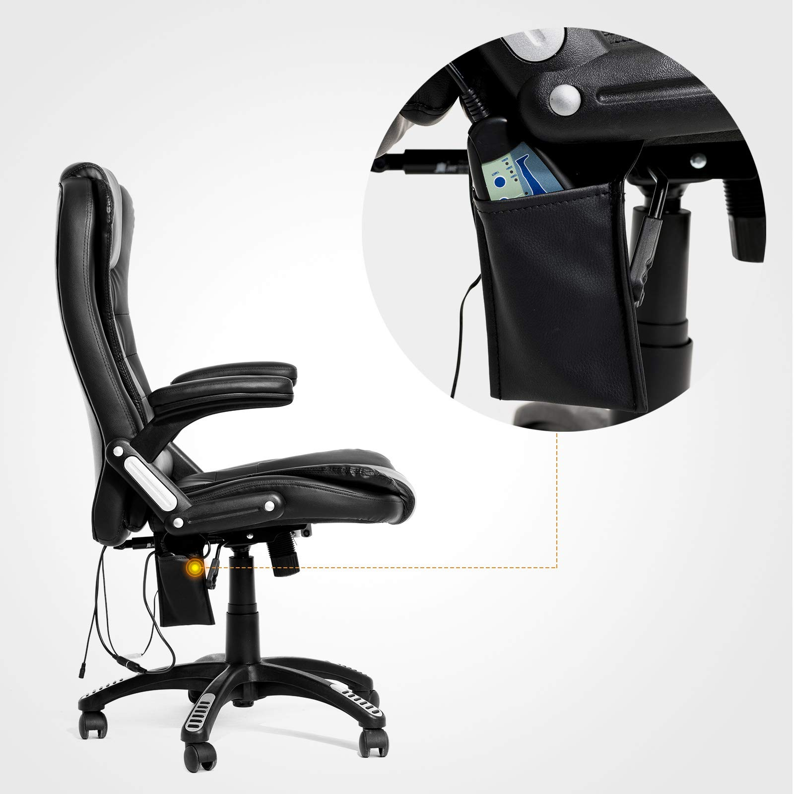 Mecor Heated Office Massage High-Back PU Leather Computer Chair w/360 Degree Adjustable Height & Armrest (Black) by Mecor (Image #5)