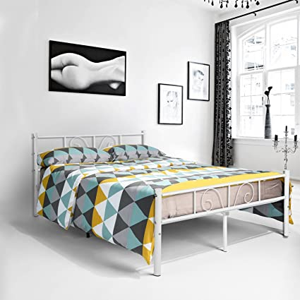 Amazon.com: Metal full size bed frame, Yanni ADRINA 10 Legs Platform ...