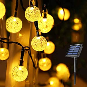 Solar String Lights Christmas Globe 39 Feet 66LED Crystal Balls Waterproof Solar Powered Fairy Lights for Outdoor Garden Yard Home Party Wedding Decoration(Warm White)