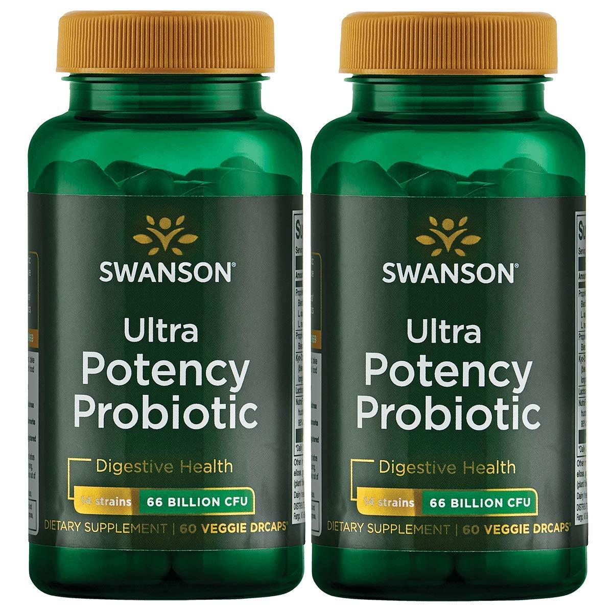 Swanson Ultra Potency Probiotic Digestive Health Immune System Support 66 Billion CFU Prebiotic NutraFlora scFOS 60 DRcaps Veggie Capsules (Caps) (2 Pack)