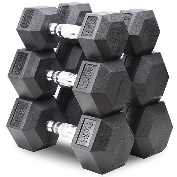Mancuernas hexagonales de goma Fuel Pureformance, color negro, tamaño 12.5KG X 1: Amazon.es: Deportes y aire libre