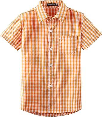 Spring&Gege Camisa de vestir de popelina a cuadros de manga corta para niño