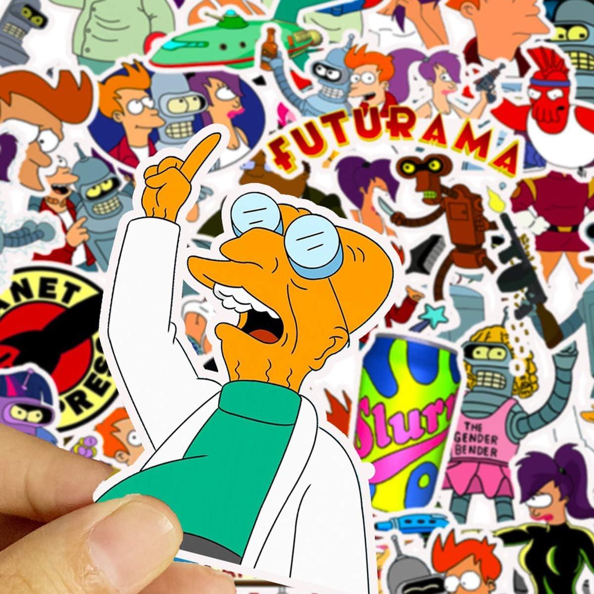 Futurama Themed Futurama TV Series Decal Stickers Cartoon Waterproof Philip J Fry Stickers Car Laptop Helmet Luggage Vintage Skateboard Wall Decor Gift for Kids