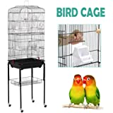 Yaheetech Rolling Large Bird Cage for Cockatiel Quaker Parrot Sun Parakeet Green Cheek Conure Finch Budgie Lovebird Parrotlet Canary Pet Bird Cage with Perch Stand and Wheels 46L x 35.3W x 150.6H (cm)