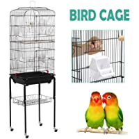 Yaheetech 59.3'' Rolling Bird Cage Parakeet Finch Budgie Conure Lovebird Pet Bird Cage House with Stand,Black