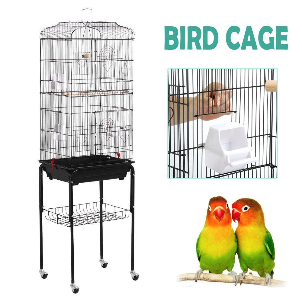 Yaheetech 59.3'' Rolling Bird Cage Parakeet Finch Budgie Conure Lovebird Pet Bird Cage House with Stand, Black