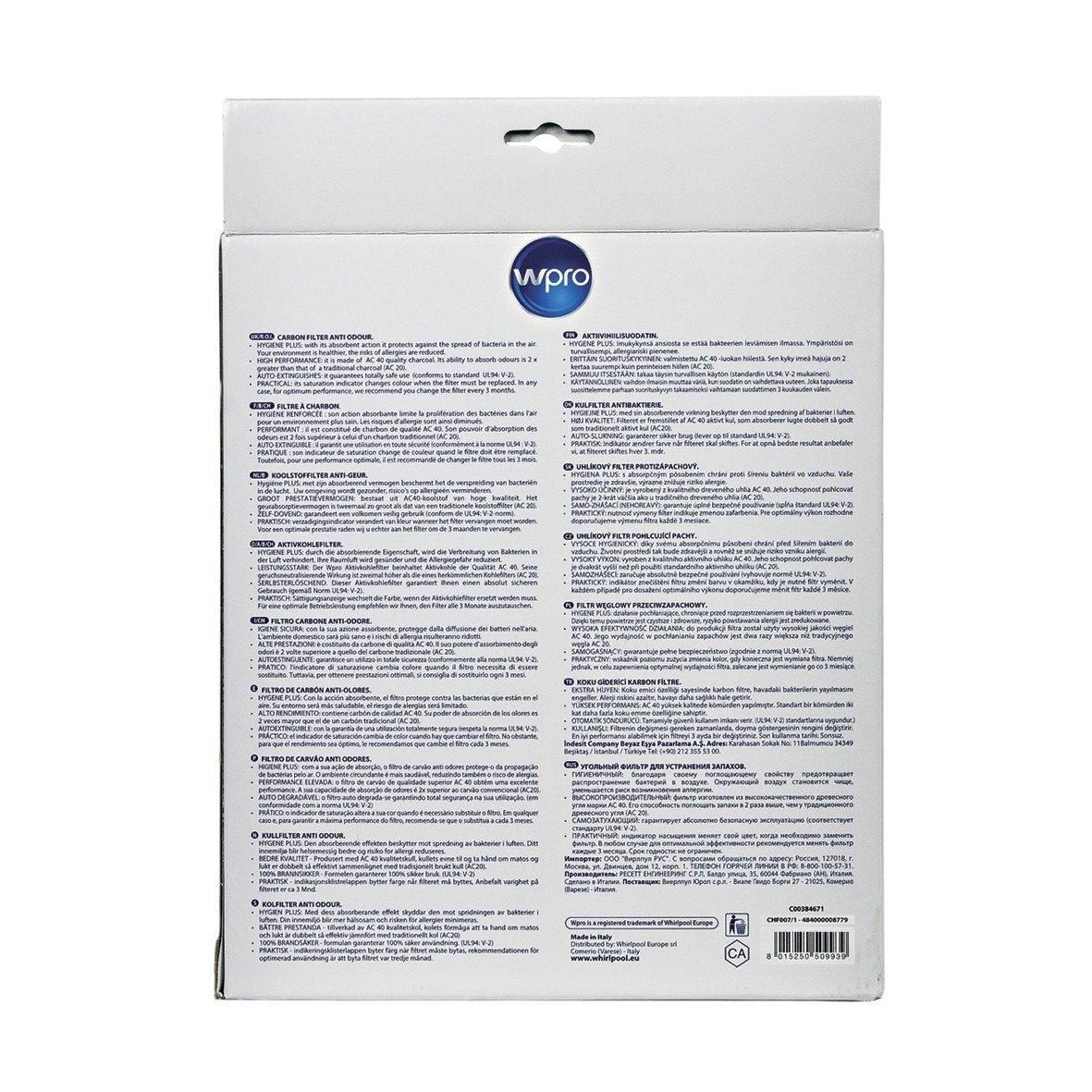 Aktivkohlefilter Kohlefilter Filter passend CHF 007 Bauknecht 481281719203