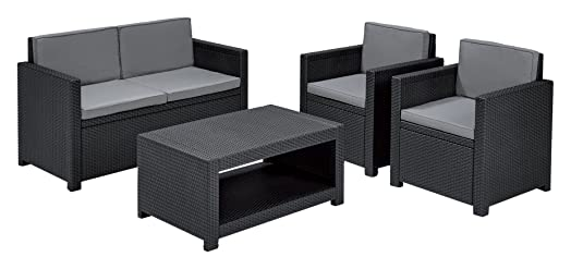 allibert by keter monaco outdoor 4 seater rattan lounge garden furniture set graphite with grey - Rattan Garden Furniture 4 Seater
