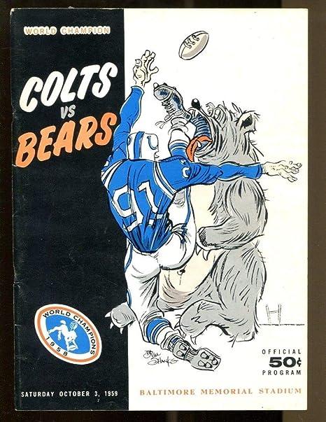 info for 28326 0f283 1959 Baltimore Colts v Chicago Bears Program 10/3 Memorial ...