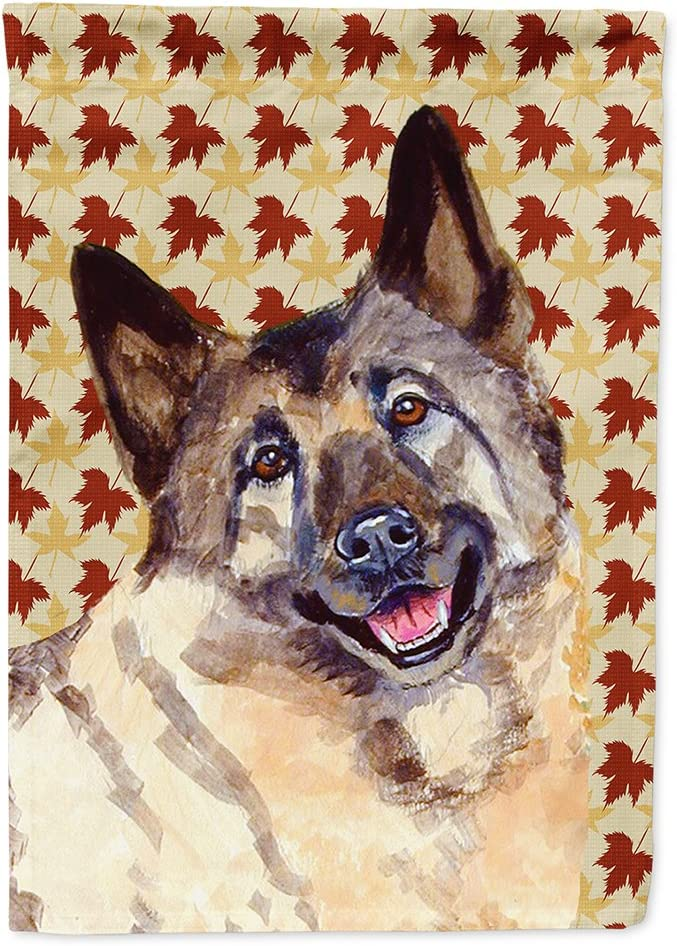 Caroline's Treasures LH9128GF Norwegian Elkhound Fall Leaves Portrait Flag Garden Size, Small, Multicolor