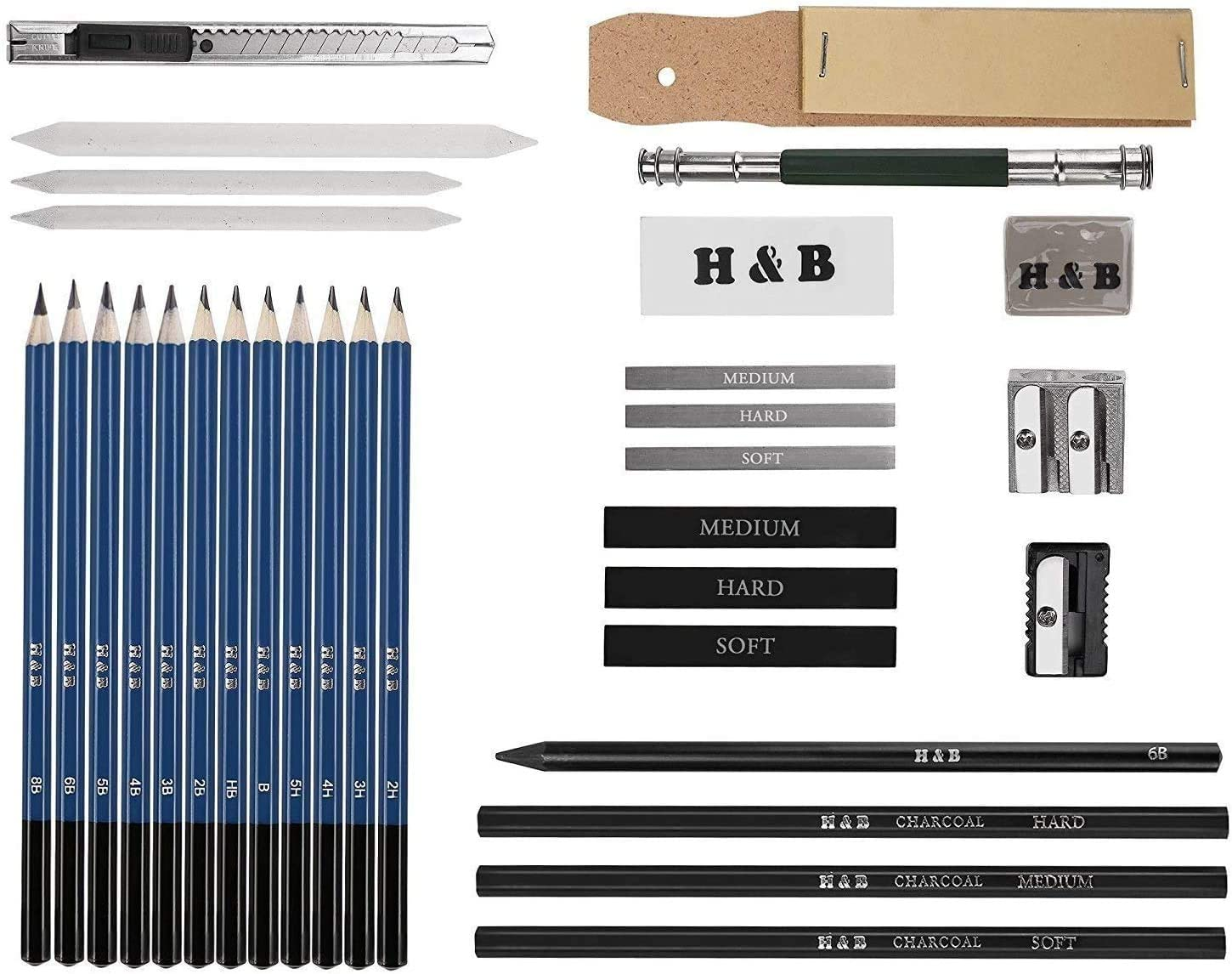 Professional Painting Artists Sketch Pencil Set Sketch Charcoal Graphite Sticks Pen Kit 33 pieces Wood Pencils Sketch Pencils Stationery Set Lypumso Drawing Pencils