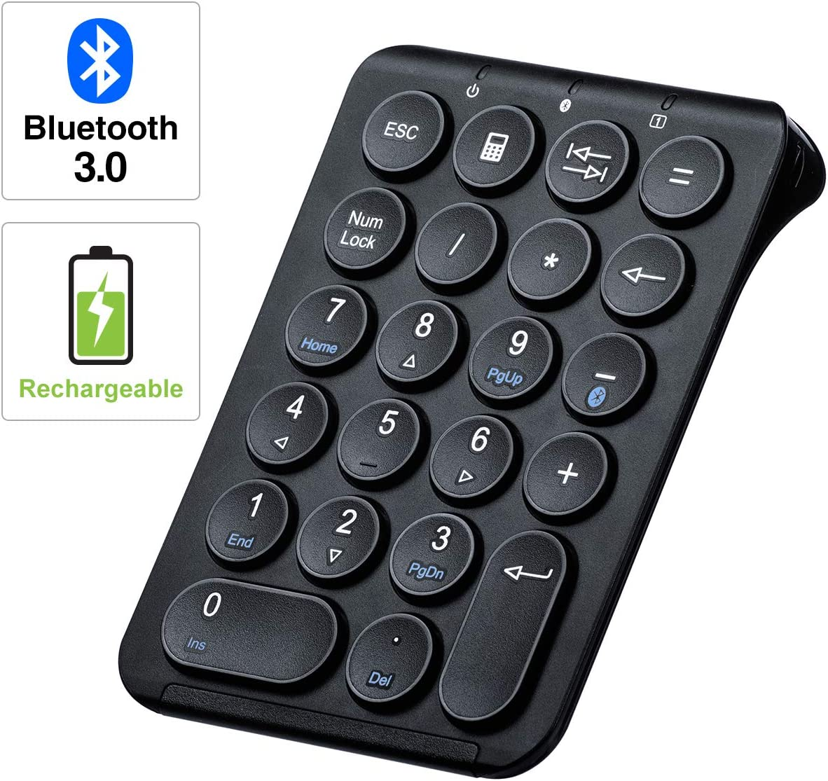 SANWA (Japan Brand) Slim Bluetooth Number Pad, Wireless Numeric Keypad, Portable & Lightweight for Financial Accounting (for MacBook, iPad, iPhone, Surface, PC & Tablet, Android, iOS, Windows)