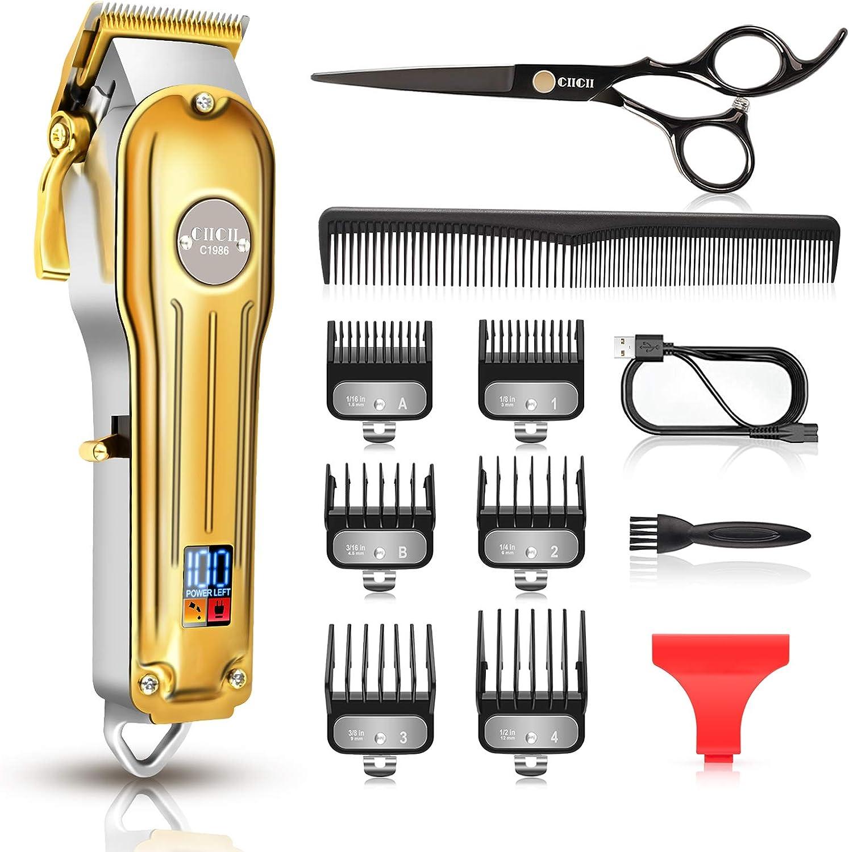 Cortapelos Hombre, CIICII Maquina Cortar Pelo Profesional & Recortadora de Barba (12Pcs/ Inalambrico/Recargable/USB/Pantalla LCD) para Corte de Pelo de Bricolaje/Hogar/Barbero/Salón