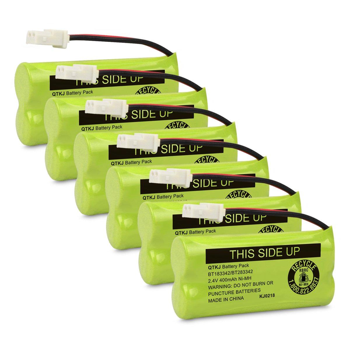 QTKJ BT183342 BT283342 BT166342 BT266342 BT162342 BT262342 Battery Compatible VTech CS6114 CS6419 CS6719 at&T EL52300 CL80113 CS6114 CS6419 CS6719 EL52300 CL80111 Cordless Phone Handsets (Pack of 6)