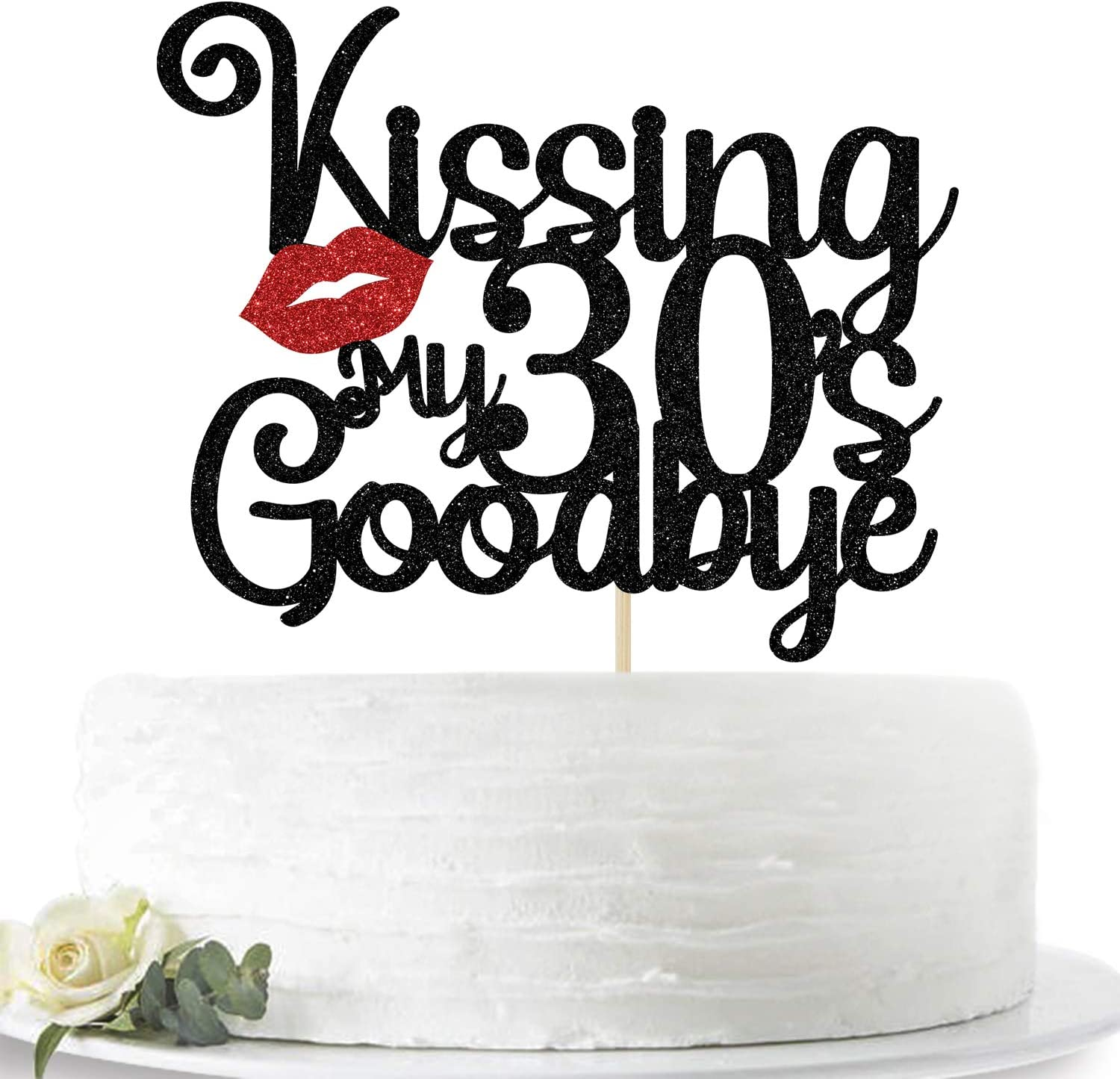 Glitter Kissing My 30's Goodbye Cake Topper, Happy 40th Birthday Cake Decor, Cheers to 40 Years, 40th Birthday Party Decoration Supplies(Black and Red)