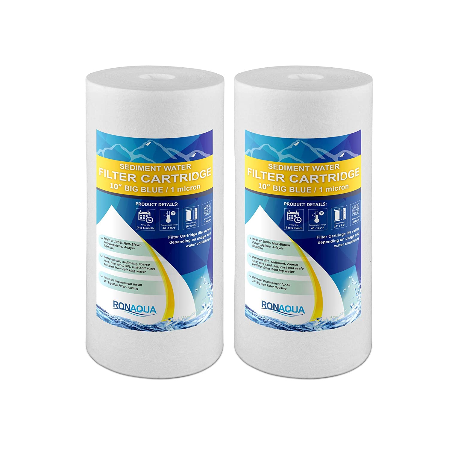 2 Pack, 20 Big Blue Sediment Replacement Water Filters 1 Micron 4.5x 20 Cartridges by Ronaqua