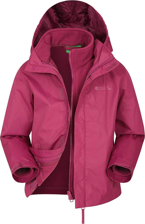 Mountain Warehouse Lightning 3 in 1 Kids Waterproof Jacket Hiking Inner Fleece Kids Coat Taped Seams Triclimate Jacket for Winter Walking Detachable Hood
