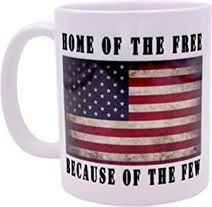Patriotic USA Flag Funny Coffee Mug Novelty Cup Gift America Home of The Free Military Veteran Gift Idea