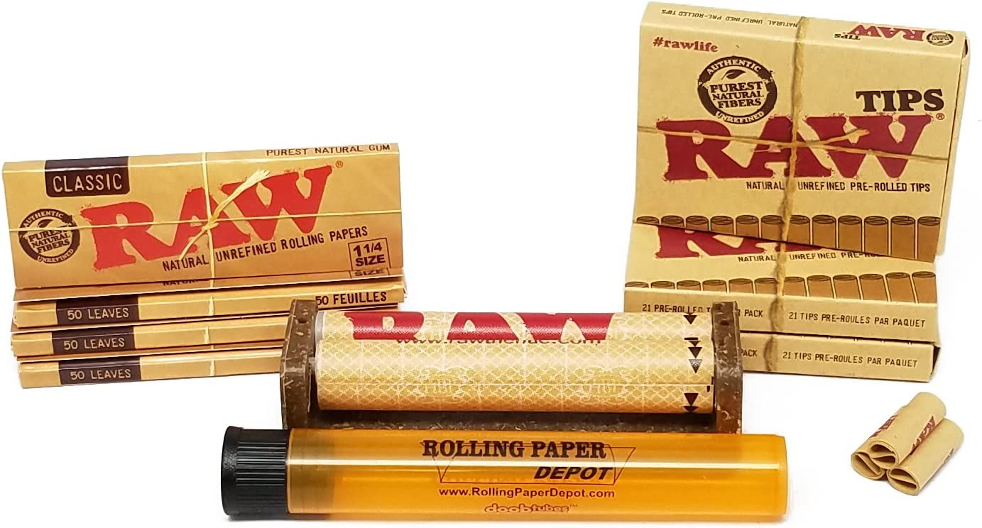 50 Paper Pack 3  Packs RAW Classic Rolling Papers Vegan Natural 1 1//4 Size