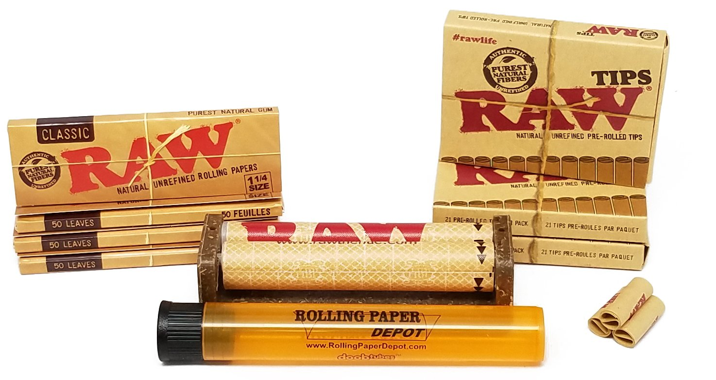 Bundle - 9 Items - Raw Unbleached Classic 1 1/4 Size Cigarette Rolling Papers (4 Packs), RAW Pre-Rolled Tips (3 Packs), RAW 79mm Cigarette Roller and Rolling Paper Depot Doob Tube by RAW, Rolling Paper Depot