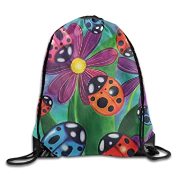 Ladybird and Flowers Drawstring Bags Portable Backpack ...