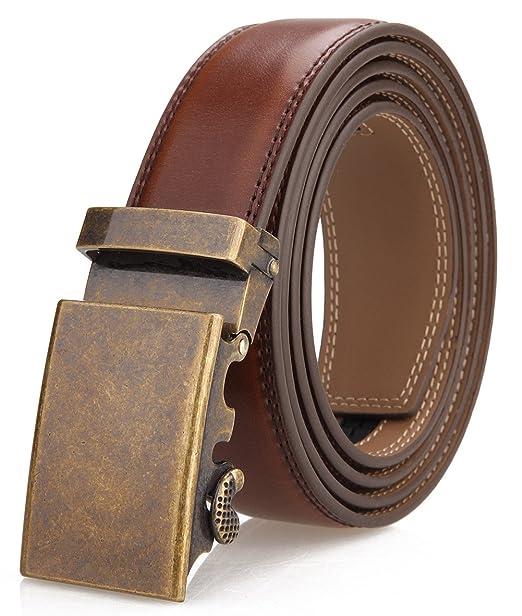 Men/'s Belt,Slide Ratchet Belt for Men with Genuine Leather 1 3//8,Trim to Fit