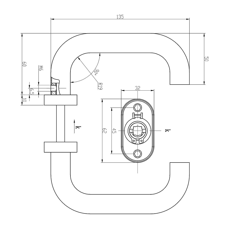 Schraubenabstand 45mm 1 Dr/ückergarnitur inkl Befestigungsmaterial L-Form T/ürgriff f/ür Gartentor Livia Oval PZ Edelstahl matt Schmalrahmen T/ürbeschlag auf Oval Rosette Innen- und Au/ßenbereich