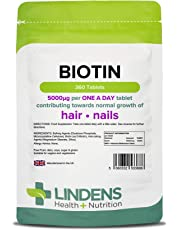 Lindens Biotin 5mg Tablets | 360 Pack | Contributes Towards Normal Hair and Nail Strength for Women & Men with Each Serving Contains 100X Nrv of Biotin