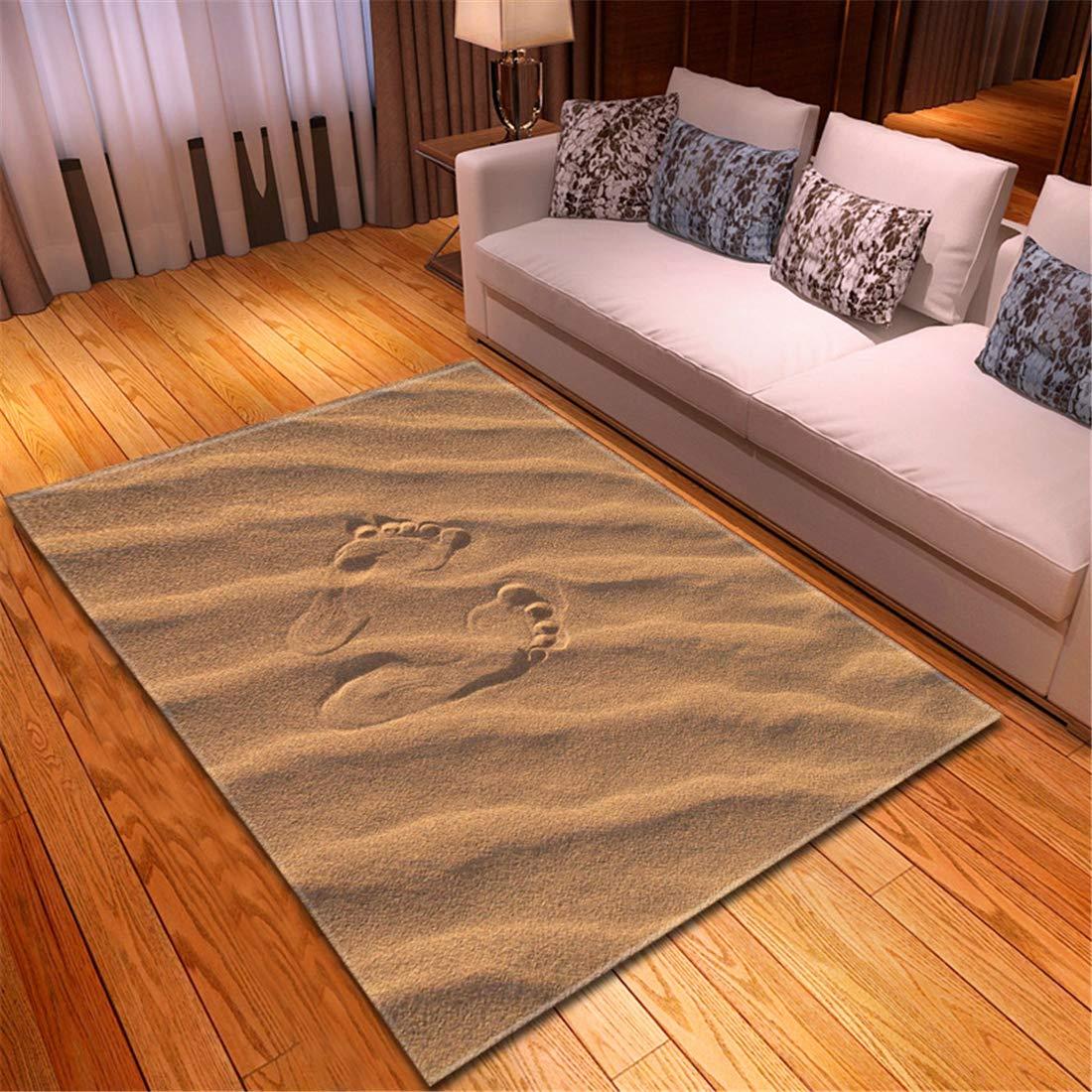 大きいラグ 絨毯 買取ラグ パネル147X213CMビーチビーチの足跡美しいカーペット寝室ダイニングルームマットリビングルームポリエステル世帯機械織り B07RVJFZCY