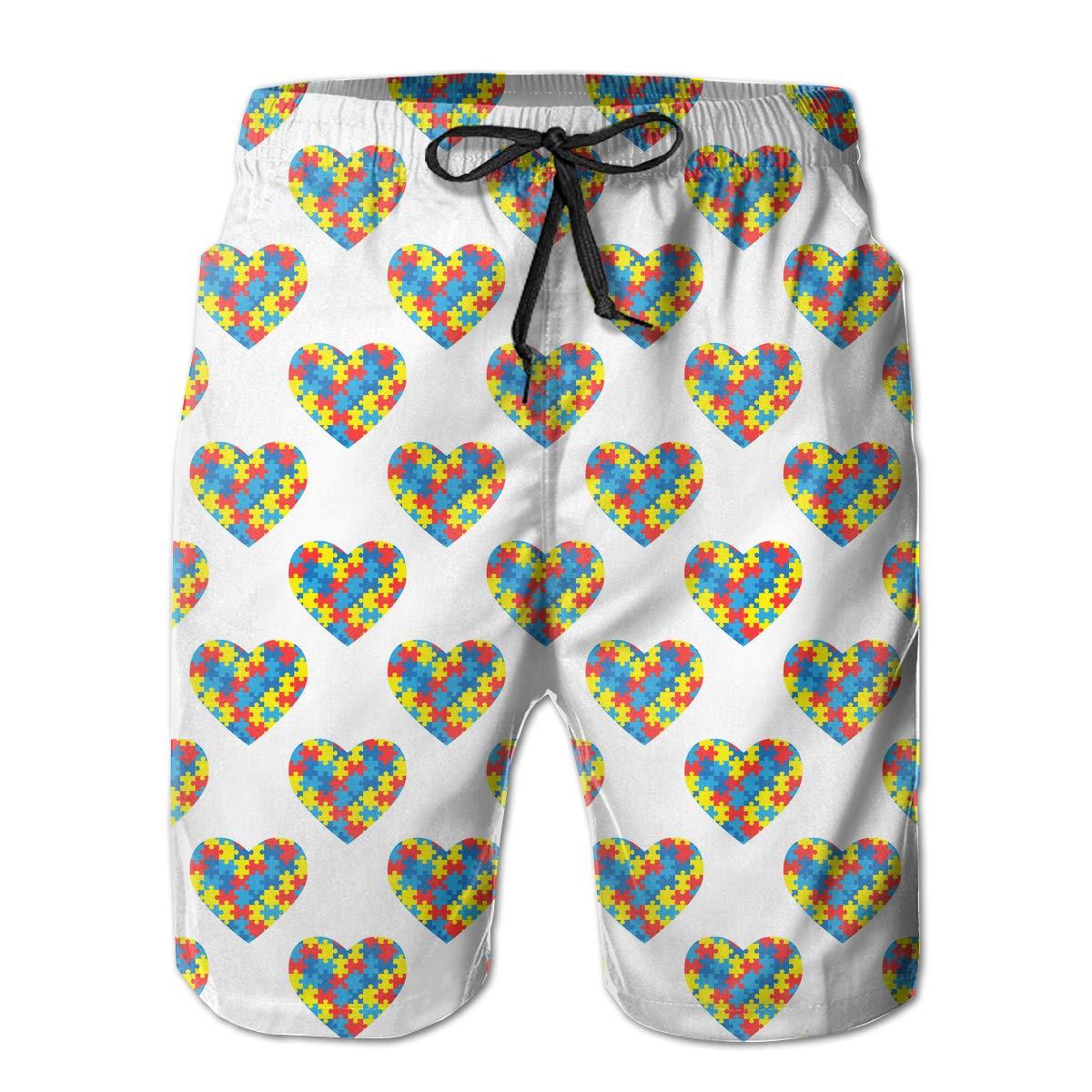 Polyester World Autism Awareness Day Pattern Beachwear with Pockets Xk7@KU Mens Casual Swim Trunks
