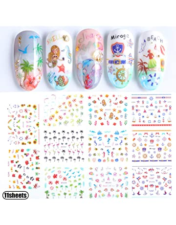 37d01b932593 Nail Art Stickers Accessories for Girls Beach Mermaid Decorative Nail  Decals for Women Summer Series Sea