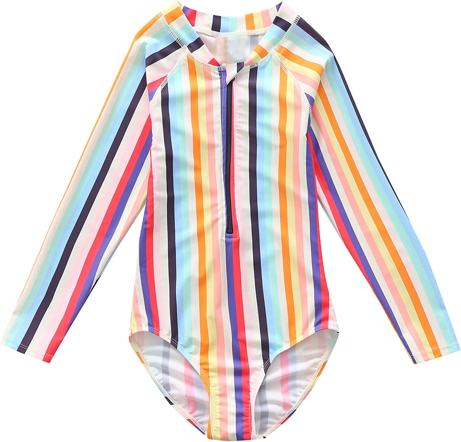 Sun Protection Swimwear Rainbow Striped Bathing Suit 3-14 Years Girls Long Sleeve Rash Guard One Piece Swimsuit Kids UPF 50