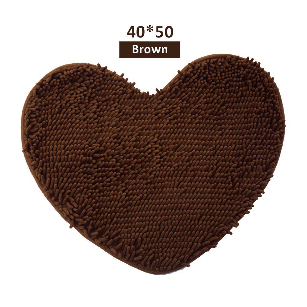 GerTong Mat lovely Heart Shape slip assorbente tappeto decorativo tappeto zerbino per pavimento bagno doccia tappeto antiscivolo cuscino decorazione domestica, Brown, 50*60cm