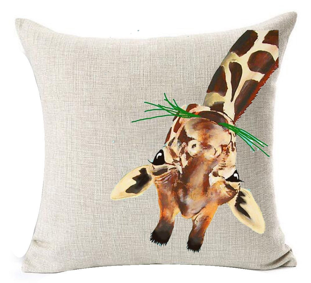 Nordic Simple Ink Painting Watercolor Animal Adorable Bunny Rabbit Cotton Linen Throw Pillow Case Personalized Cushion Cover New Home Office Decorative Square 18 X 18 Inches