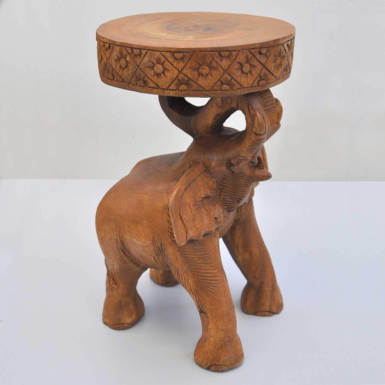 Holz Beistelltisch Elefanten Blumenständer Holztisch Massivholz Wohnzimmer Tisch