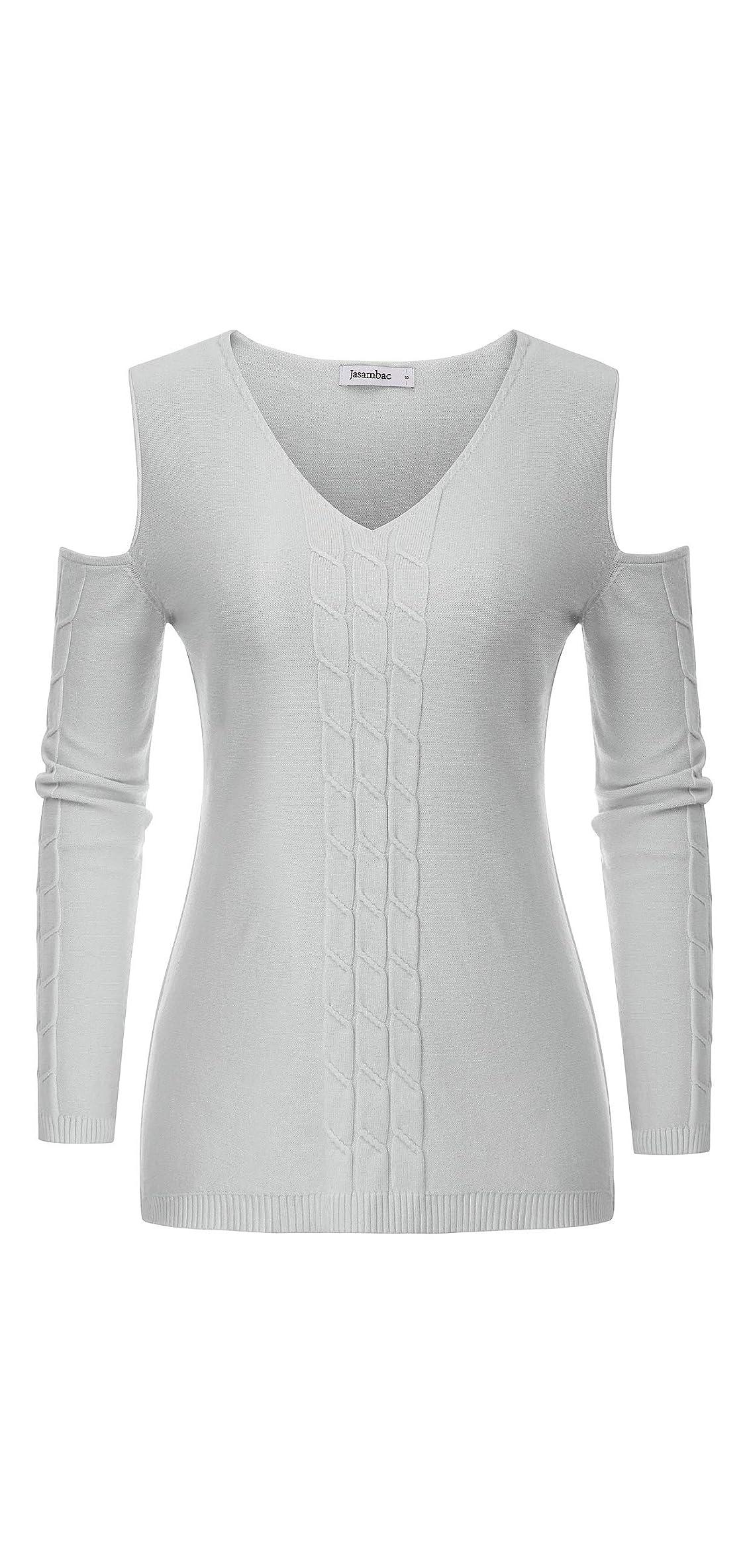 Women's Cold Shoulder Cable Knit Sweater V Neck Jumper