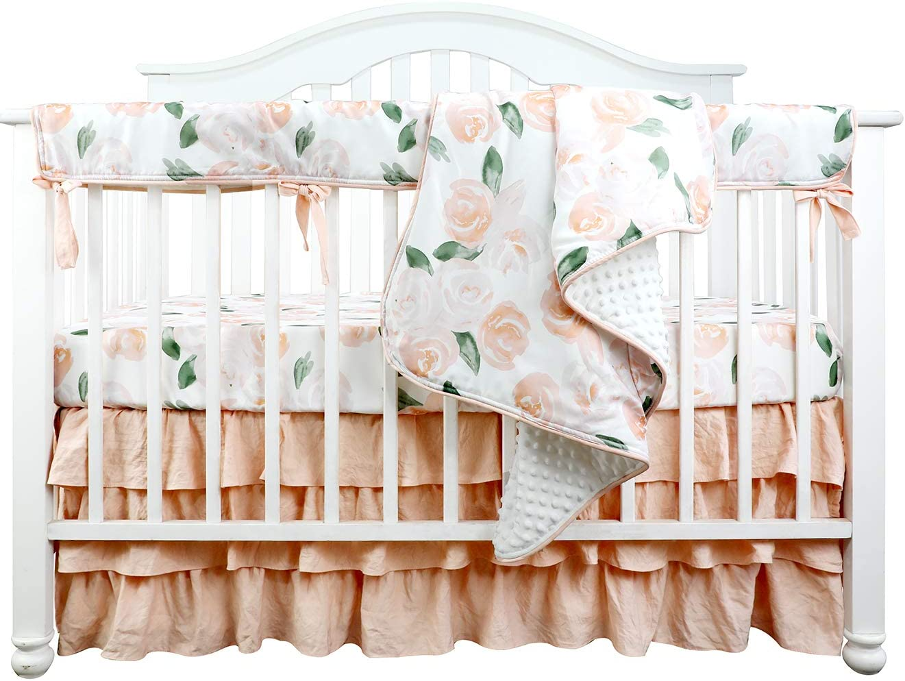 Boho Coral Floral Ruffle Skirt Baby Minky Blanket Peach Floral Nursery Crib Skirt Set Baby Girl Crib Bedding Feather Blanket Blush Watercolor Floral, 4pc Set