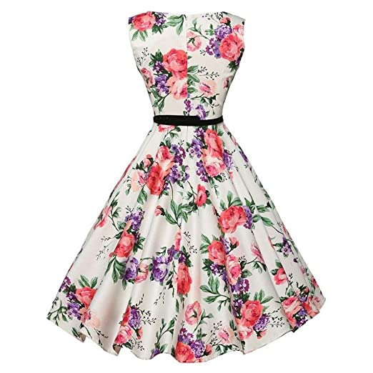 Teresamoon Hot Sale Women Vintage Floral Sleeveless Swing Dress (White, S)