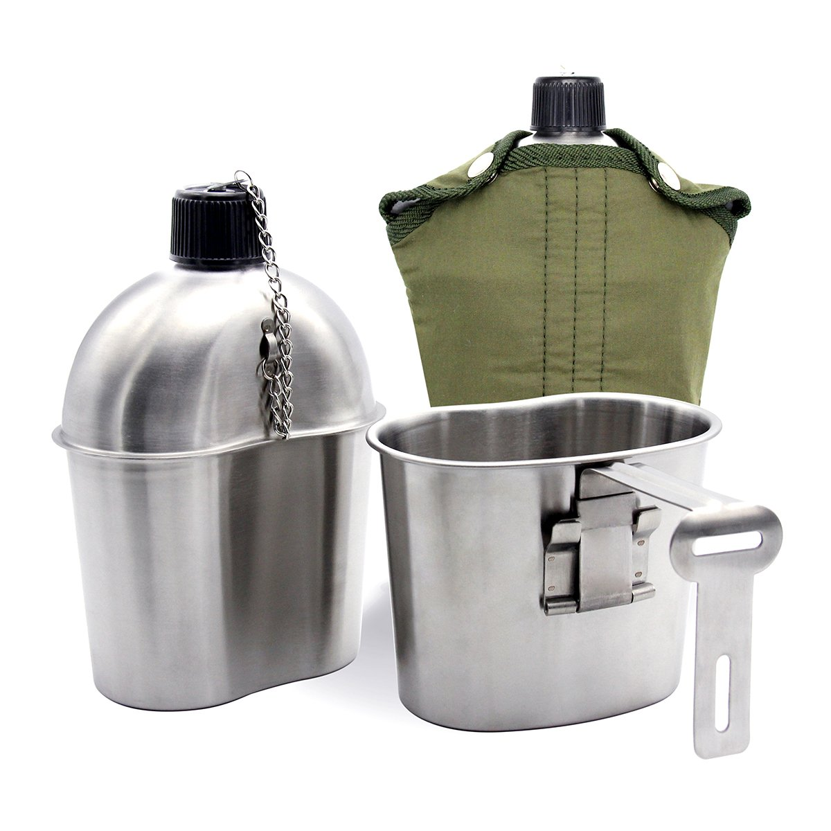 TargetEvo Stainless Steel Military Canteen 1QT Portable with 0.5QT Cup Green Cover Camping Hiking G.I. by TargetEvo