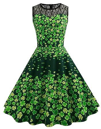 Frauen Vintage Kostüm Kleid St. Patrick Day Sporadisch Grün Klee ...