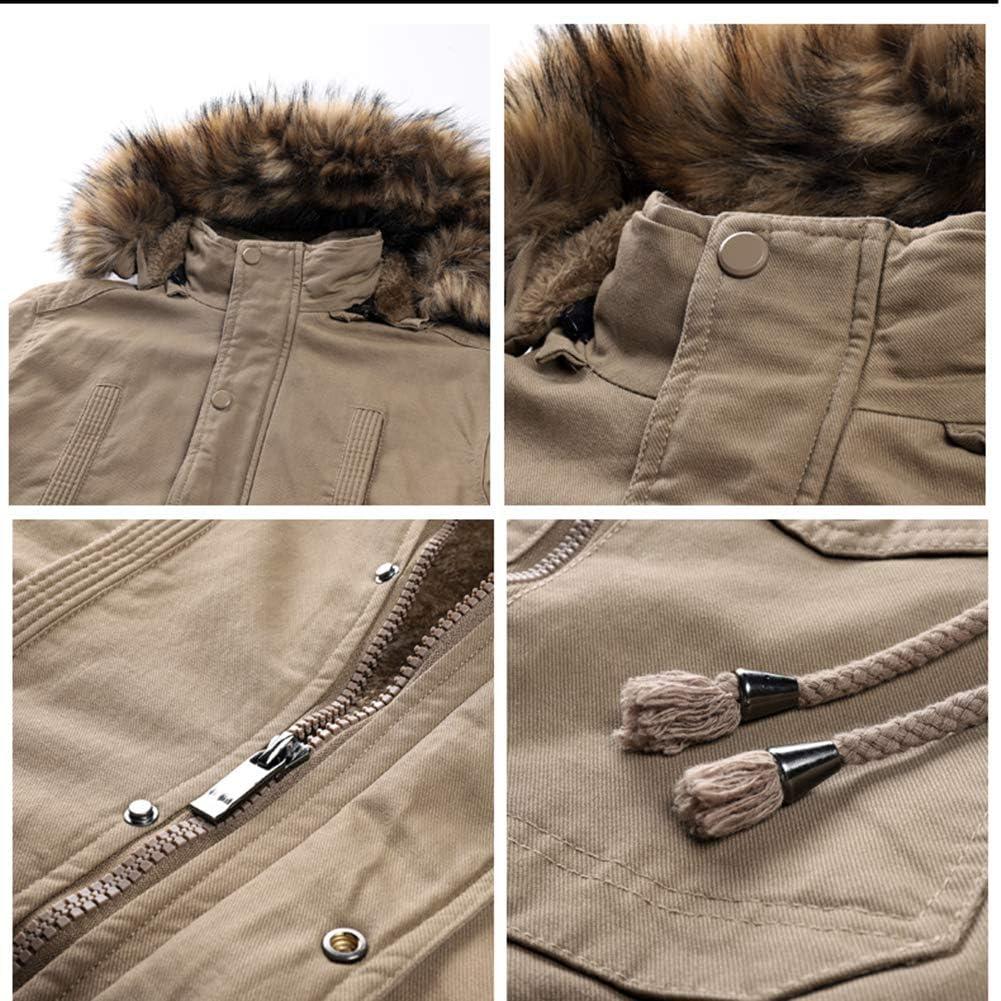 Veste pour Hommes Vêtements en Coton européen et américain Vêtements pour Hommes Plus Manteau d'hiver en Velours Veste Chaude mi-Longue pour Hommes Kaki