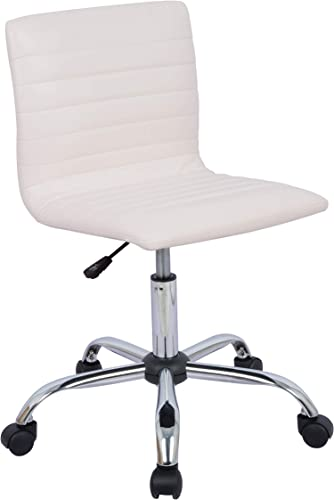 AmazonBasics Modern Adjustable Low Back Armless Ribbed Task Desk Chair, White, BIFMA Certified