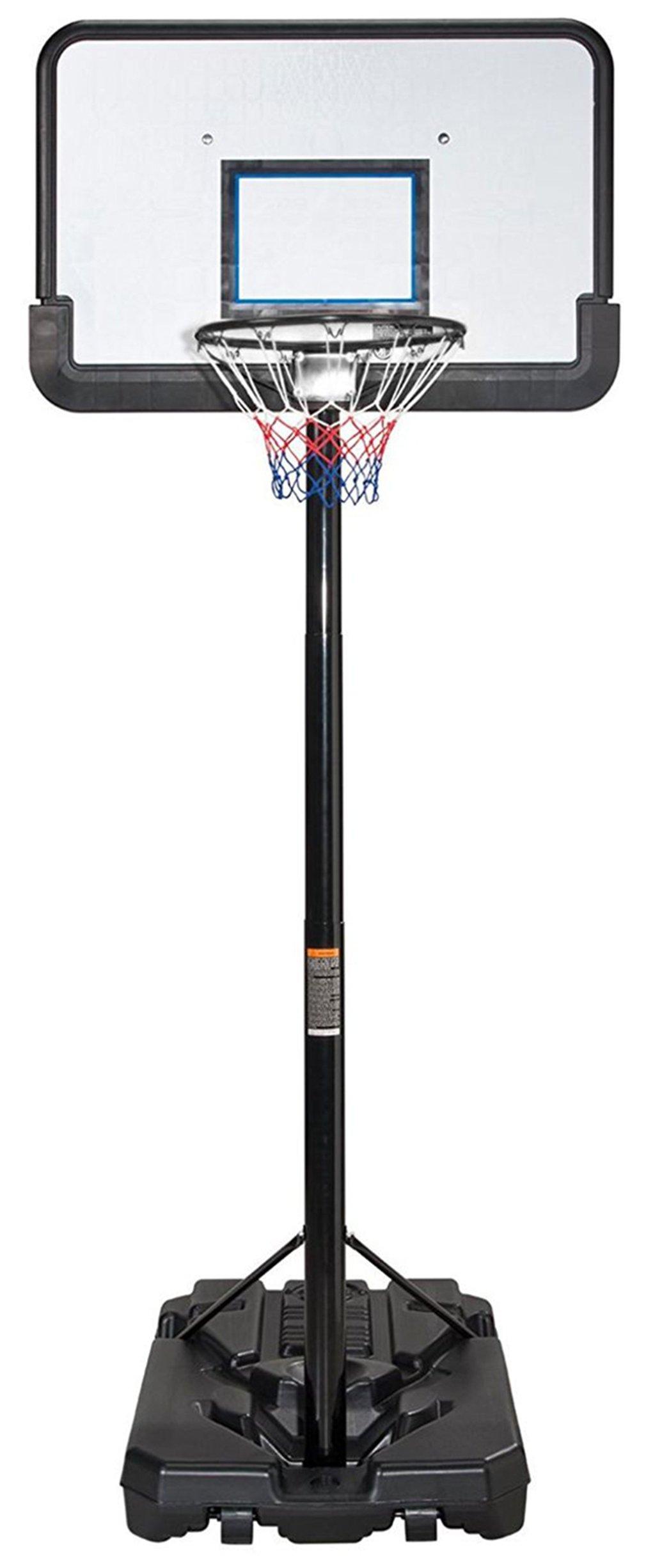 KLB Sport Pro Court Height Adjustable Portable Basketball Hoop System w/Wheels, 43 Inch Backboard (Black Coated)