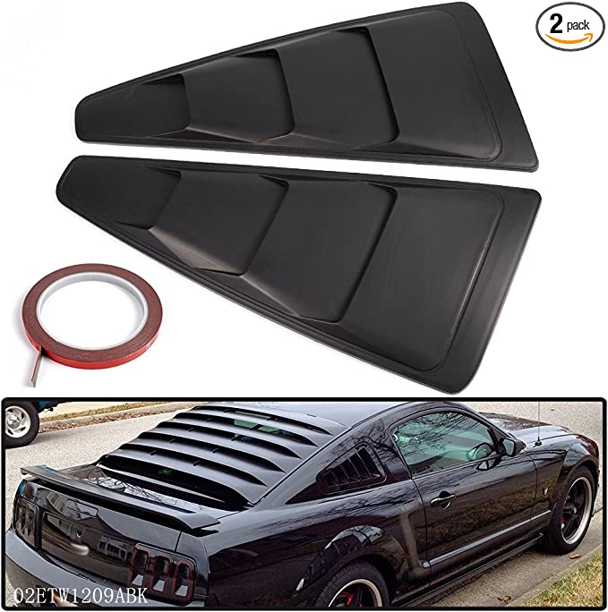 2X Carbon Fiber Rear Side Window Louvers Scoop Cover Vent Ford Mustang F 05-2014