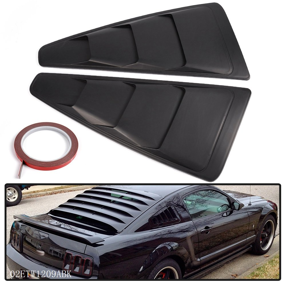 For 2005-2014 Ford Mustang Quarter 1/4 Side Window Louver Scoop Cover ABS Black Side Window Louver Vent Board