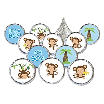 amazon com monkey baby shower favor stickers for boy 324 count