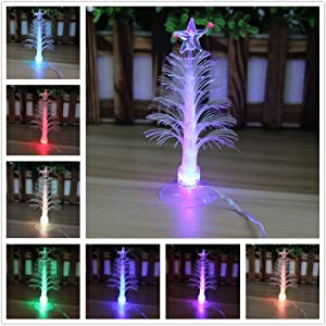 "Elloapic Colorful Fiber Optic Christmas Tree with Multi-Color LED Flash Light USB Powered Christmas Santa Xmas Decoration 5"" Tall, with Sucker in The Bottom"