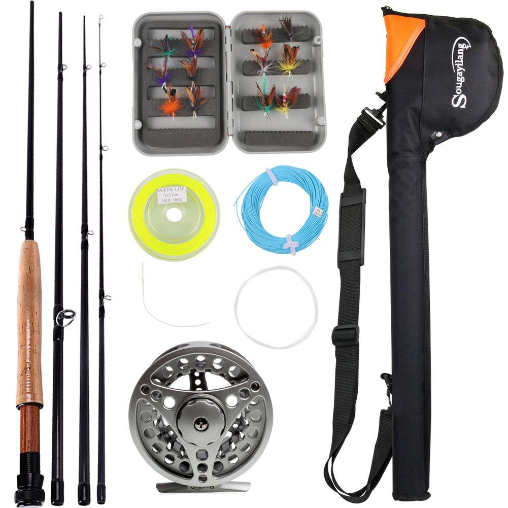 Sougayilang Saltwater Freshwater Fly Fishing Rod with Reel Combo Kit
