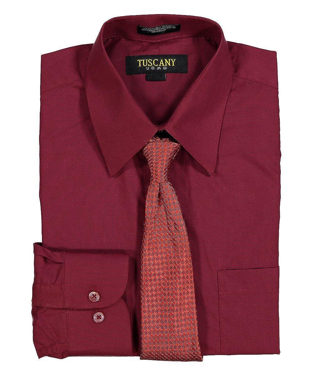 Mens Solid Long Sleeve Dress Shirt Tie Combo Set Random Tie At