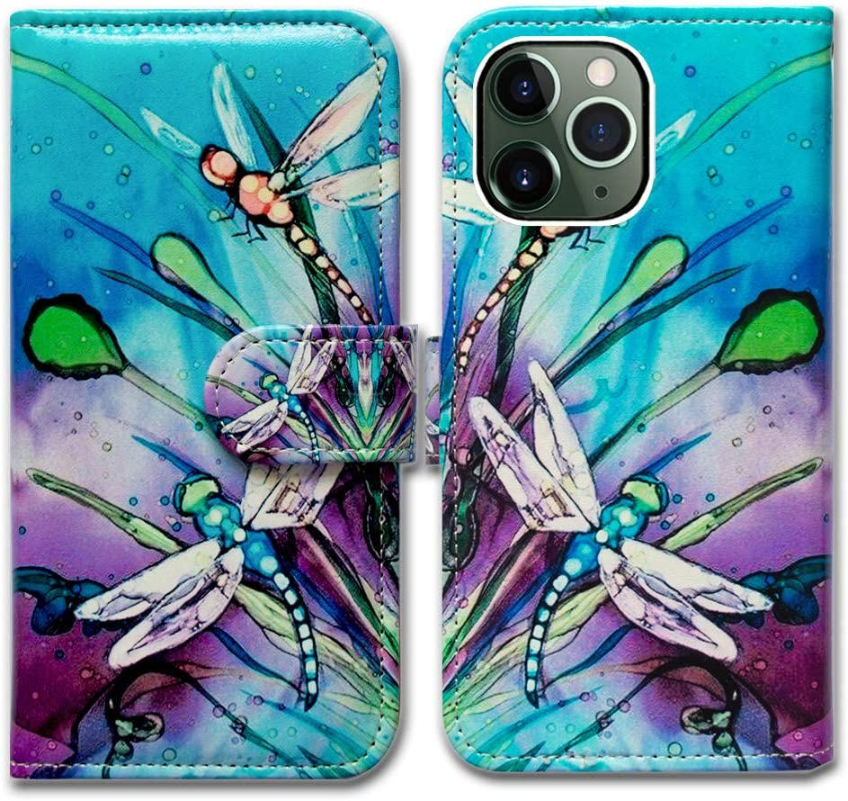 iPhone 11 Pro Wallet Case,Bcov Cute Dragonfly Leather Flip Wallet Case Cover with Card Slot Holder Kickstand for iPhone 11 Pro